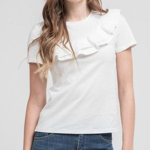 NWOT J.O.A. White Cotton T-Shirt w/Ruffle